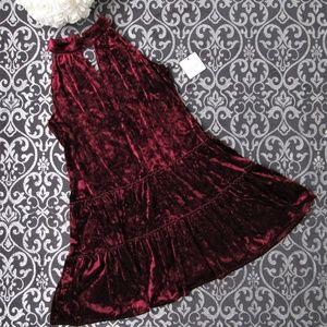 NWT Burgundy Wine Velvet Choker Shift Midi Dress